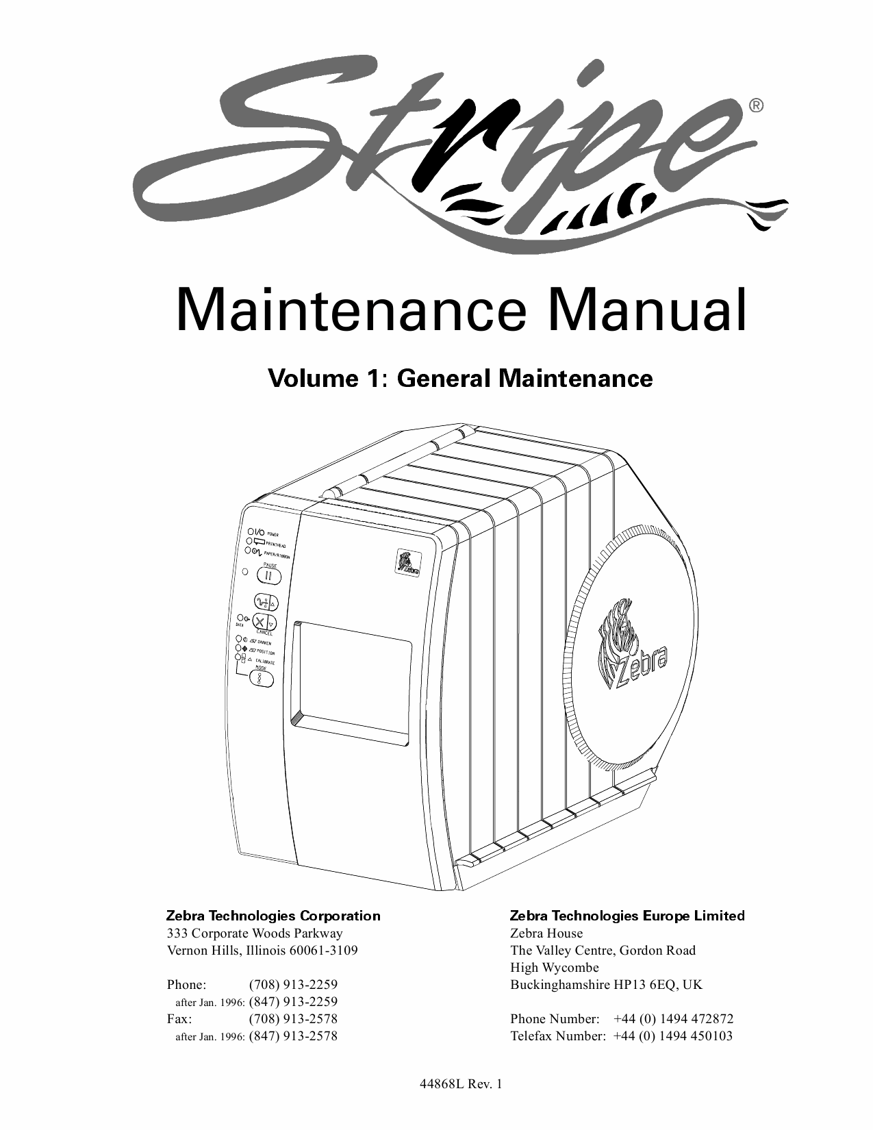 Zebra Label S300 S500 Maintenance Service Manual